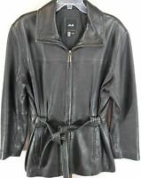 JLC New York Women's Ladies Black 100% Leather Front Zip Belted Jacket Size L/G