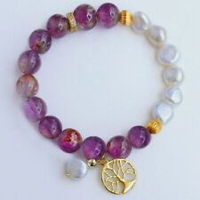 10mm Natural Golden Rutilated Amethyst Pearl Beads Bracelet BJGM26