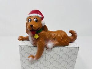 Vintage Plastic Laying Dog Christmas Stocking Hanger Holder EUC