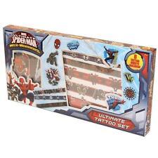 Childrens Spiderman Web Guerrero Tatuajes Temporales Transferencias Ultimate Set 36-0335
