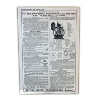 Stationary Engine Wall Chart - Petter Universal Paraffin (Kerosene) Engines