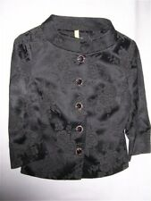 Arden B Floral Black Jacket Asian-esque Button-Up Cinch Waist Lady Small GREAT!!
