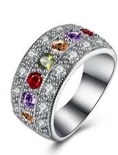 Multi colour Stone Studded Silver plated Bengals Design Wedding Women Band ring