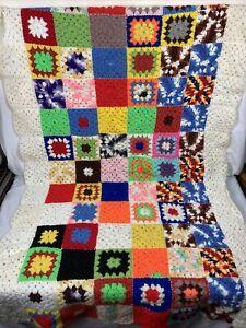 tv blanket small vintage afghan vibrant colors warm hand crochet throw lap blanket home decor unused