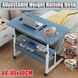Mobile Rolling Stand Up Computer Desk Workstation Adjustable Height Laptop Table