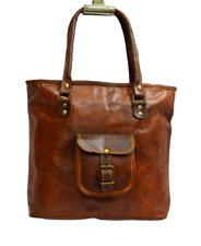 "17"" Women's Vintage Genuine Leather Handbag Purse Travel Tote Hobo Messenger Bag"