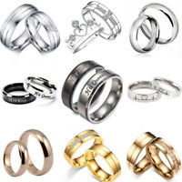 Hot Men Women Stainless Steel Ring Couples Party Wedding Engagement CZ Band Ring