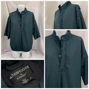 Footjoy Dryjoys Golf Jacket L Green 1/4 Zip 100% Poly Rain Jacket YGI V1-436