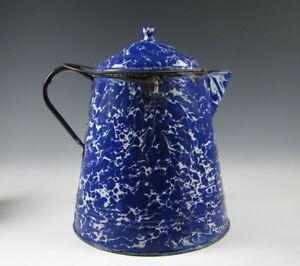 Antique Cobalt Blue Graniteware Enamelware large Kettle