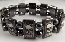 Wholesale 12 pcs/lot Black Skull Hematite Magnetic Beads Bracelet