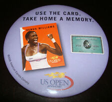 US OPEN TENNIS VENUS WILLIAMS American Express Card Large Metal Round Pin Button