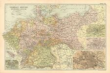 1908 LARGE VICTORIAN MAP ~ GERMAN EMPIRE NETHERLANDS & BELGIUM HAMBURG BERLIN