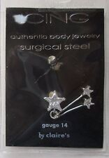 cc Double Dangle star cubic zirconia 14g stainless steel BELLY RING body jewelry