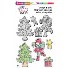 "Stampendous Pink Your Life Stamp & Die Set 9""X5.25"" - Whisper Friends-Decorate"