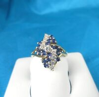 .59 CT Total Weight Diamond & Sapphire Estate Ring - 14KT Yellow Gold