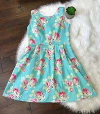 Womens Dress Floral Roses Aqua Turquoise Pink Fit Flare 10 Medium Party Wedding