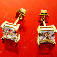 STUD EARRINGS GENUINE REAL 18K YELLOW G/F GOLD LADIES DIAMOND SIMULATED DESIGN