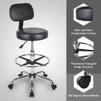 Rolling Chair Swivel Drafting Stool with Backrest & Footrest Height Adjustable