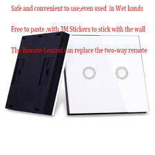 Wireless Two Gang White Remote Control Wall Light Panel Switch Shape Controller