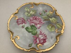 """Limoges Coronet France Roses Gold Rim 9.5"""" length Porcelain Plate Artist Signed"""