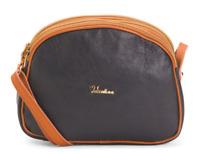 VALENTINA Genuine Leather Dome Crossbody Handbag Made In Italy Navy MSRP $220