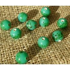 20 HANDMADE INDIAN LAMPWORK GLASS BEADS ~ 11mm Green Speckled ~ 63