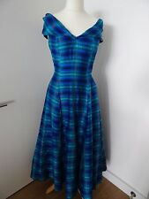 "MONSOON TWILIGHT BLUES & GREEN SILK EVENING DRESS SIZE 12 "" EXCELLENT"""