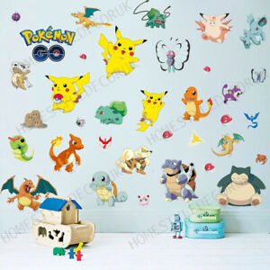 Pokemon Go Pikachu Wall Stickers Bedroom Nursery Decor Art Mural Decal UK Seller