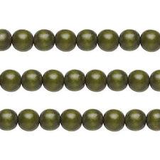 Wood Round Beads Dark Forest Green 6mm 16 Inch Strand