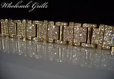 "STUNNING! $325 Mens Size 8"" CUSTOM Simulate Diamond 14k Gold Gp HipHop Bracelet"