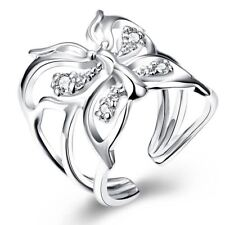 925 Silver Plt Adjustable Open Butterfly Ring Thumb Ladies Gift Dragonfly A