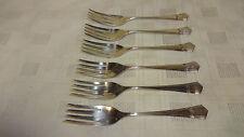 Vintage Ornate Set Of 6 Silver Plated Cake/Fruit Forks EPNS