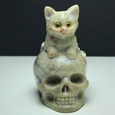 176g Natural Mineral Specimen. Pagodite. Hand-carved. Skull and A Cat Sculpture