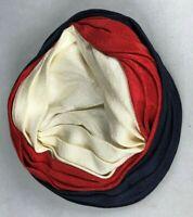 Vintage Ladies Gladys & Belle Junior Red White & Blue Pillbox Hat w/ hair combs