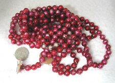 "Vintage Yummy Hot Pink Mercury Glass Bead Christmas Garland 63"" 3/8"" Beads 1029x"