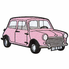 Light Pink Mini Cooper Austin Classic Cars Sport Racing Iron on Patches #MC034
