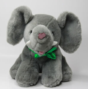 Baby Elephant plush stuffed animal toy  Gray Grey pink nose mouth Agent Clean