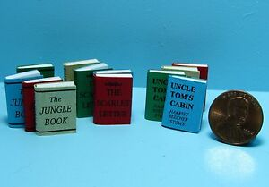 Dollhouse Miniature Book Set of 12 with Printed Covers and Pages IM65773