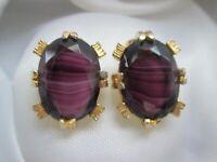 Vintage Amethyst Glass Gold Tone Metal Oval Clip On Earrings
