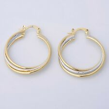 """Awesome New 14K Yellow & White Gold Plated Two-Tone Twisted 1.25"""" Hoop Earrings"""