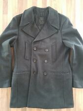 All Saints mens winter pea coat jacket charcoal grey medium excellent condition