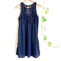 Abercrombie & Fitch Navy Viscose Sleeveless Lace Dress, Size S