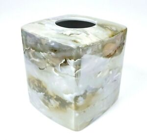 HAMPTON HILL REFLECTIV GREEN,OLIVE MARBLE LOOK PORCELAIN TISSUE BOX COVER HOLDER