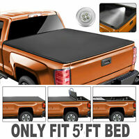 Tri-Fold 5FT Truck Bed Soft Tonneau Cover For 2020 Jeep Gladiator JT On Top