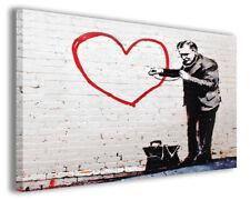 Quadri famosi Banksy IV stampe riproduzioni su tela copia falso d'autore