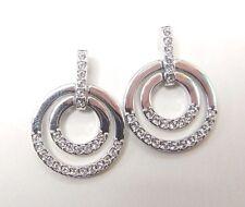 Circle Medium Pierced Earrings White, Rhodium 2017 Swarovski Jewelry #5349203