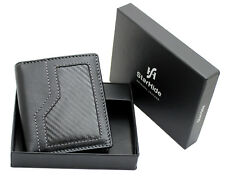 StarHide Men's Real Leather & Carbon Fiber Slim Wallet Comes With Gift Box 1175