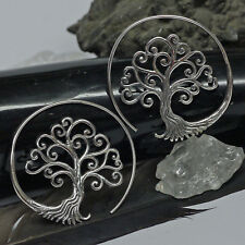 sehr edel Creolen Baum des Lebens Yggdrasil 925 Silber Ohrhänger 4,5 cm HANDMADE