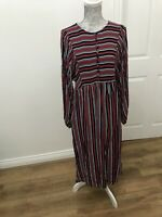 BNWT M&S Collection Red White And Navy Relaxed Midi Dress - Size UK 10