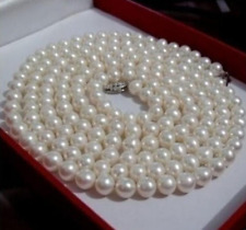 Natural 7-8mm White AAA Freshwater CULTURED Round Pearl Necklace 36''